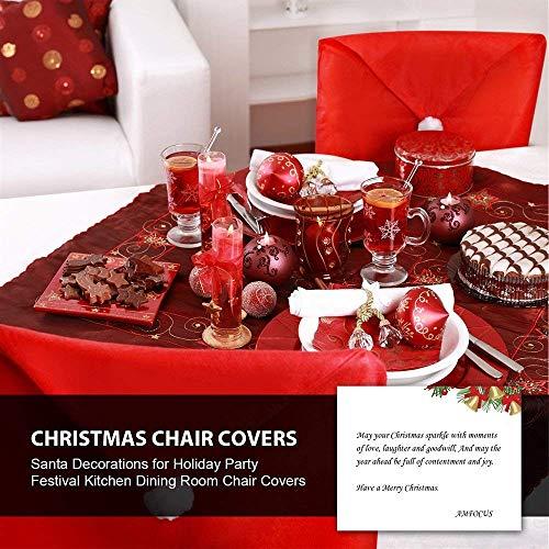 Groovy Amfocus Christmas Dining Chair Slipcovers Chair Back Covers Xmas Decoration Santa Claus Hat Design Set Of 6 Machost Co Dining Chair Design Ideas Machostcouk