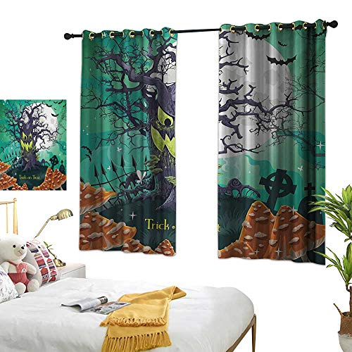 Living Room Curtain W55 x L45 Halloween,Trick or Treat Dead Forest with Spooky Tree Graves Big Kids Cartoon Art Print,Multicolor Bedroom Living Room Dining Room ()