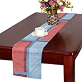 Denim Blue Burgundy Pattern Texture Distressed Table Runner, Kitchen Dining Table Runner 16 X 72 Inch For Dinner Parties, Events, Decor