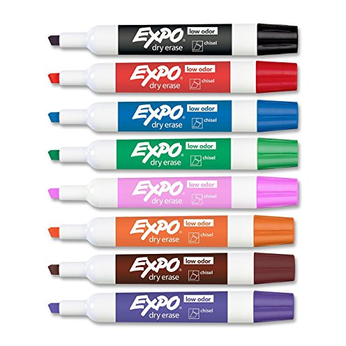 Expo Low Odor Chisel Tip Dry Erase Markers, 2 Sets of 8 Count, Assorted Colors