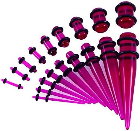ボディピアス + 9PCS耳18Pcs耳ゲージキットアクリルフルサイズ9PCS耳ストレッチャーキットは、テーパーセットジュエリーマルチカラーオプションを伸ばすアクリルゲージ耳プラグ ボディピアスジュエリー (Color : Transparent Purple)