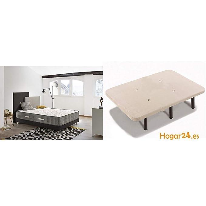 HOGAR24 ES - Conjunto de descanso 80 x 180 cm - Colchón Bio Natur Fresh 30 + Somier Lama Ancha Reforzada con Tacos Anti-Ruido y Patas Cilíndricas, ...
