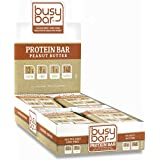 Beschäftigt Bar, Grass Fed Whey Protein Bars, Peanut Butter, 1g of Sugar, 13g of Protein, Only 140 Calories, Gluten Free, Low Carb Bar, Soy Free, GMO-Free, Perfect Snack On-the-Go (12 bars)