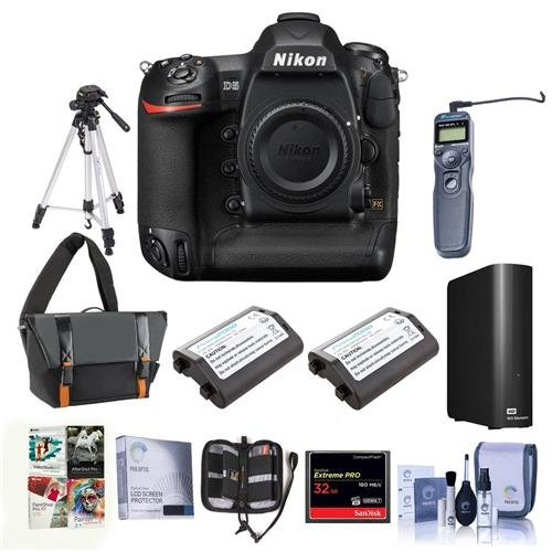Nikon D5 FX-Format Digital SLR Camera Body (XQD) - Bundle with Camera Bag, 2X Spare Batteries, 32GB XQD Card, 4TB External Hard Drive, Tripod, Remote Shutter Trigger, Software Package, and More