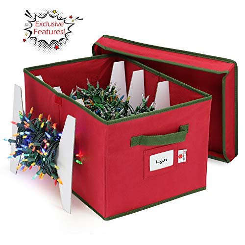 StorageMaid Christmas Lights Storage Box   Festive Sturdy Xmas Lights Organizer Container Great for Stacking - Christmas Decoration Box Equipped with a Secure Cover & Card Slot - 12 x 17 x 10 in.
