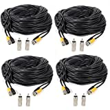Masione 4 Pack 100ft BNC Video Power Cable Security Camera Wire Cord for CCTV DVR Surveillance System