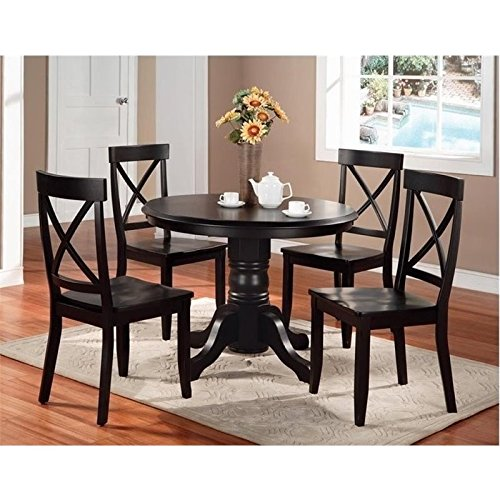 Bowery Hill 5 Piece Round Dining Set in Black