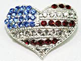 Eisenberg Ice Crystal American Flag Heart Pin ~ Patriotic