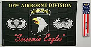 101st Airborne Eagle 3x 5banderas Rough Tex de punto Nylon W/Polo bandera 3'x5' casa Banner 90cm x 150cm ojales doble cosido Premium calidad interior al aire libre poste banderín