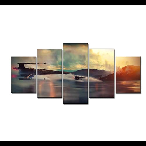 junhongli 5Piece Home Decor Wall Art Movie Poster X-Wing Fighter Picture