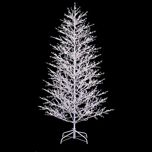 (GE Luxury 7' White Winter Berry Branch Artificial Tree W/500 Clear & Frosted White Lights Indoor/Outdoor Sculpture Christmas Decoration (Electric/Plug In))