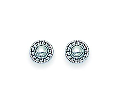 Sterling Silver Small round Stud Earrings with ball in middle - SIZE: Tiny 5mm. Gift Boxed 5163/B41HN VbnLjEO0d