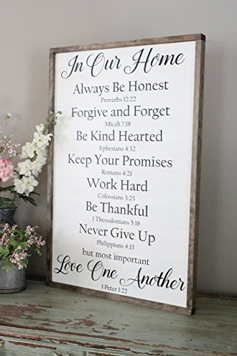 Bible Family Rules Farmhouse Style Sign