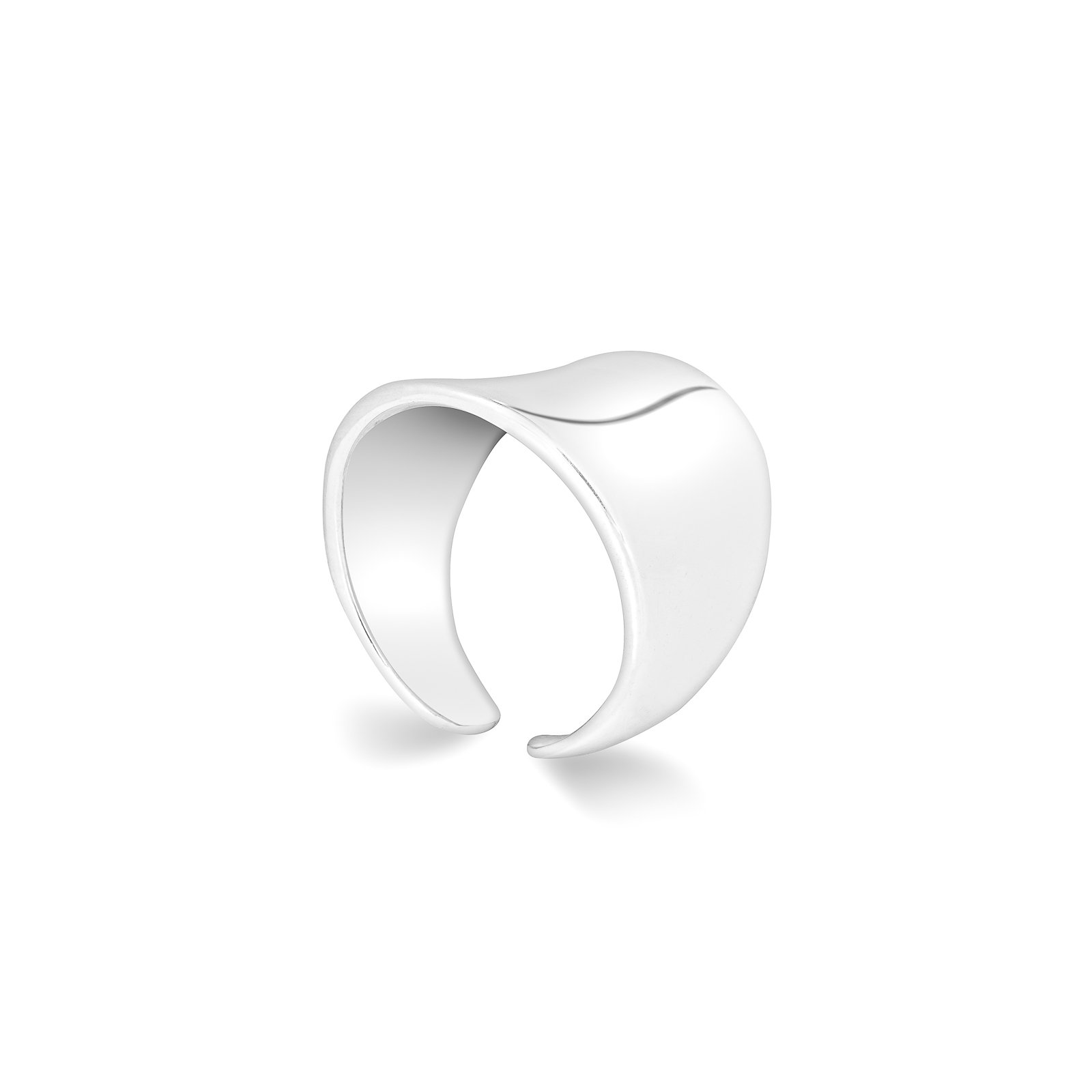 HarperCrown Wide Band Ring - 925 Sterling Silver - Adjustable