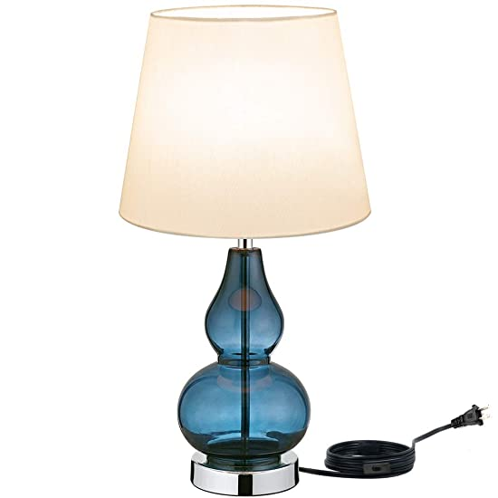 Modern Accent Table Lamps Sapphire Glass Blue Drum Lien Ivory Shade for Living Room Bedroom