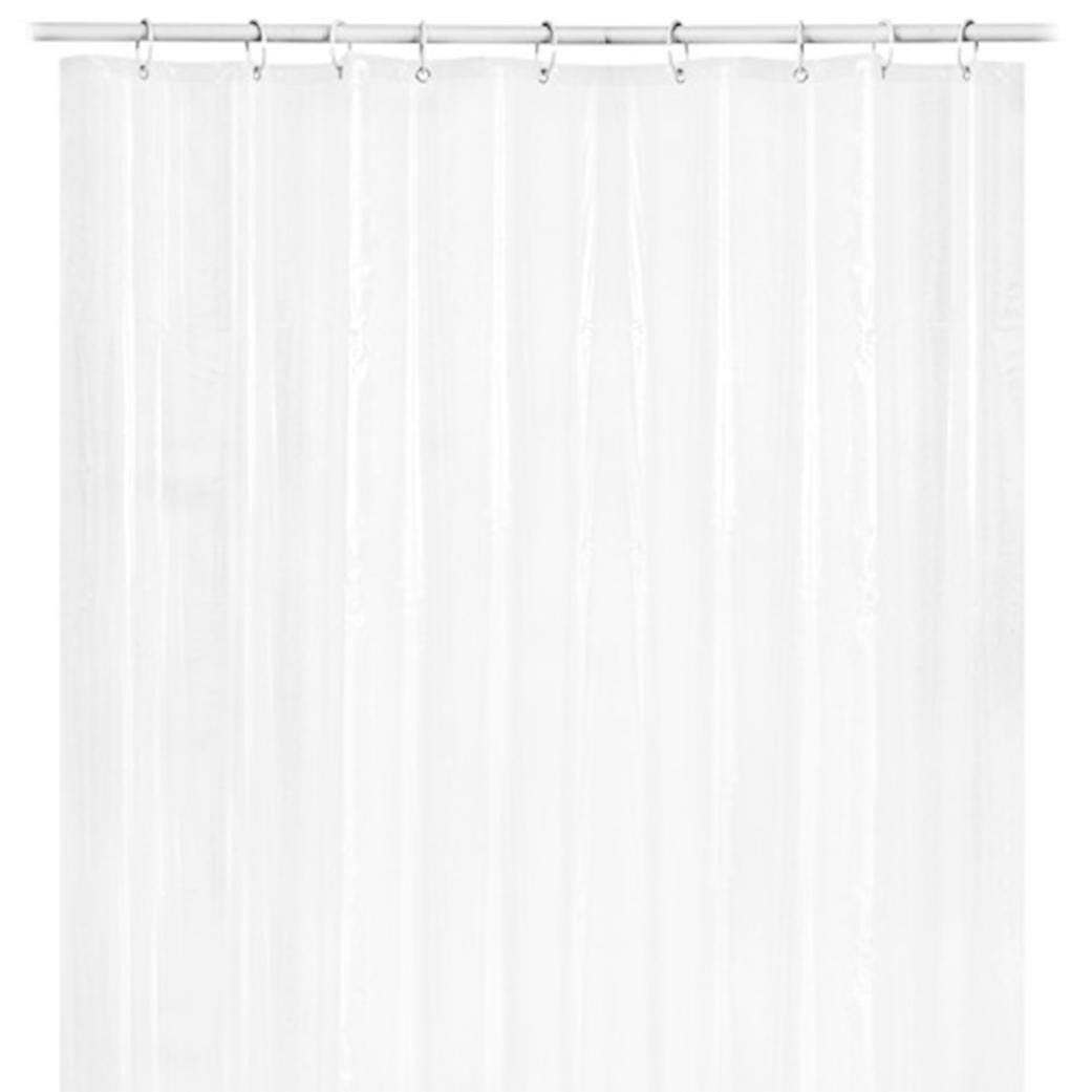 Loneflash Shower Curtain Liner | Shorter Length Stays Clean Longer | Eco-Friendly | Heavy-Duty | Clear | Mildew-Resistant Anti-Bacterial PEVA | Metal Grommets for Strength