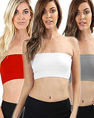 TOP LEGGING TL Women's 4 Pack One Size Strapless Seamless Active Base Layer Bandeau Tube Top
