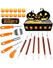 Halloween Pumpkin Carving Kit, 11 Pieces Professional Pumpkin Cutting Supplies Tools with 12 Pumpkin LED Candles, Stainless Steel Jack-O-Lanter Carving Knife Set