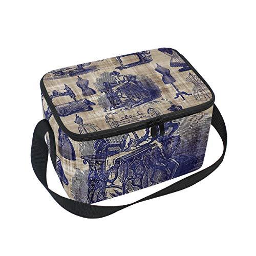 Lunch Bag Cooler Tote Bag Vintage Sewing Toile Lunchbox Meal Prep Handbag for Picnic School Women Men Kids