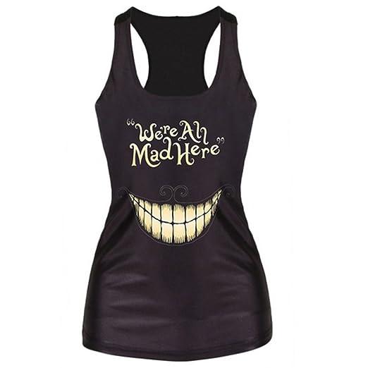 7679ac4c660673 Amazon.com  JETTINGBUY Women T-shirt Gothic Punk Tank top Vest 3D Print  Camisole (Gothic)  Clothing