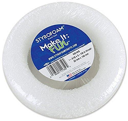 Neww Styrofoam Wreath 5-7/8''X1-3/16'' 1/Pkg-White New by a1b2d2
