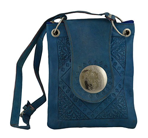 Moroccan Bags and Purses Hand Made Leather Shoulder Bag Medium Aqua