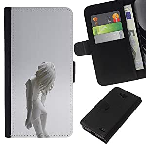 KLONGSHOP // Tirón de la caja Cartera de cuero con ranuras para tarjetas - Mujer Android - LG OPTIMUS L90 //