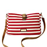 Softmusic Striped Canvas Shoulder Bag Casual Simple Satchel Crossbody Bag for Women