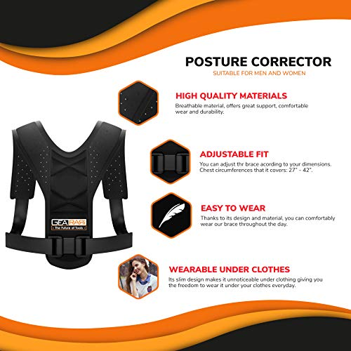 Posture Corrector for Women Men - Posture Brace - Adjustable Back Straightener - Discreet Back Brace for Upper Back Pain Relief, Comfortable Posture Trainer FDA Approved (28W) by Gearari (Image #1)
