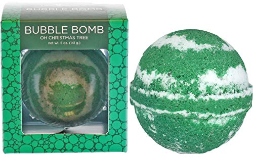 Oh Christmas Tree Bubble Bath Bomb by Two Sisters Spa. Large 99% Natural Fizzy For Women, Teens and Kids. Moisturizes Dry Sensitive Skin. Releases Lush Color, Scent, and Bubbles. Handmade in USA