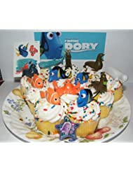 Disney Finding Dory Deluxe Mini Cake Toppers Cupcake Decorations Set of 14 with Figures, a Sticker Sheet, ToyRing Featuring Dory, Nemo and Mnay More!