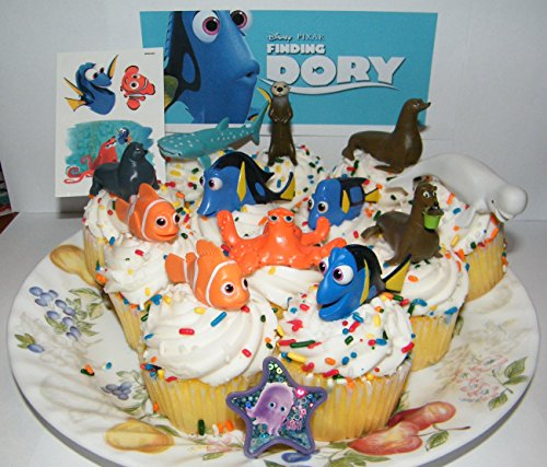 Disney Finding Dory Deluxe Mini Cake Toppers Cupcake Decorations Set of 14 with Figures, a Sticker Sheet, ToyRing Featuring Dory, Nemo and Mnay More! ()