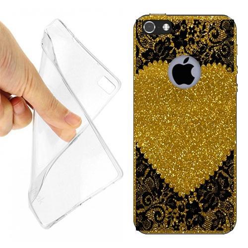 CUSTODIA COVER CASE PIZZO RICAMO HEART PER IPHONE 5 GOLD GLITTER