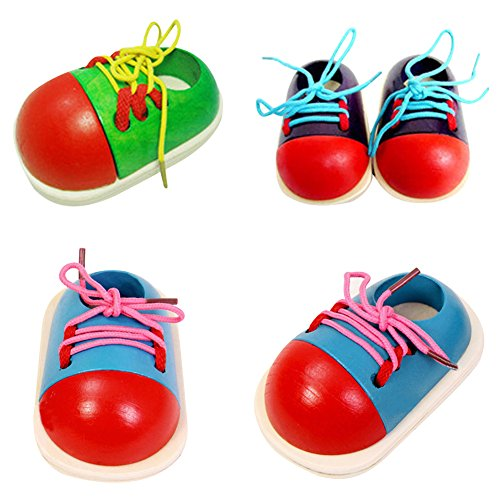 MMdex Children Wooden Toys Toddler Lacing Shoe Early Teaching Tie Shoelaces Preschool Educational Toy 1-Piece