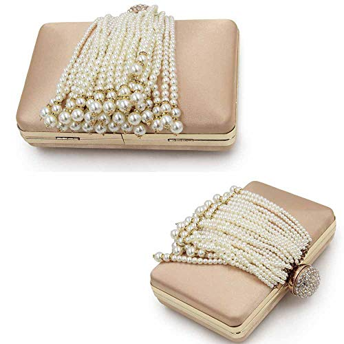 Bag FFLLAS Embroidery Clutch Pearl 6 Luxury End Bead Party Women's Pearl Evening Bag High Tassel Chain Diamond fwq4gwEp