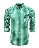 Emiqude Men's Casual Long Sleeve Plaid Button Down Dress Shirt Large Green