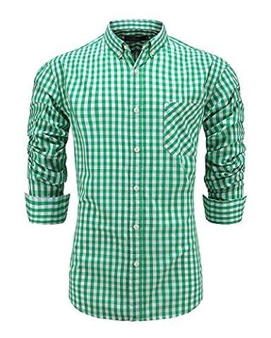 Emiqude Men's Casual Long Sleeve Plaid Button Down Dress Shirt Medium Green - Button Down Plaid Dress Shirt