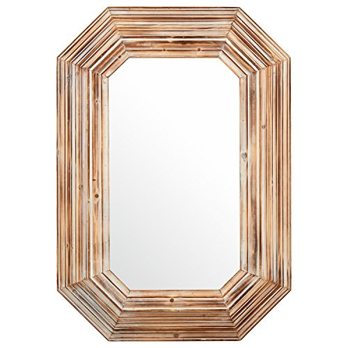 Stone & Beam Vintage-Look Octagonal Hanging Wall Mirror Decor, 39.5 Inch Height, Tan and - Wood Look Vintage