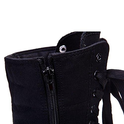 Flat Black Up Boots Punk Heel Canvas rismart High Lace Women's ZqIxIaA
