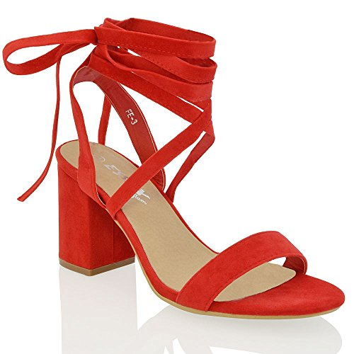 Lace Lace Wrap Up (ESSEX GLAM Womens red Faux Suede lace up Block mid Heel Strappy Sandal Shoes 8 B(M) US)