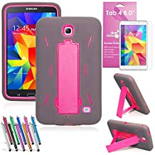 "EpicGadget(TM) For Samsung Tablet Galaxy Tab 4 8.0 Case Gray and Pink Shockproof Heavy Duty Rugged Impact Hybrid Case with Build In i Kickstand Protective Cover With Galaxy Tab 4 8.0"" SM-T330 SM-T331 SM-T335 Clear Screen Protector And 1 Random Color Universal Long Touch Stylus Pen (US Seller!!) (I Stand Gray Pink)"