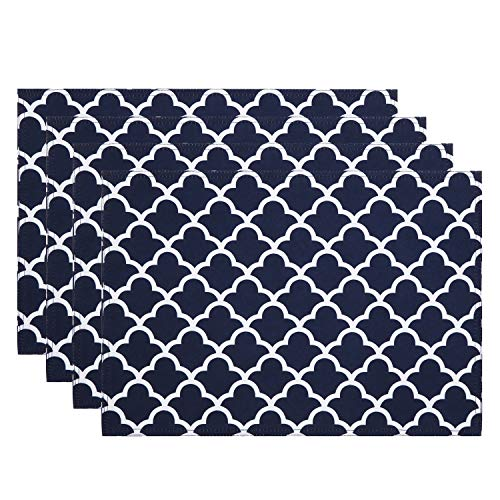 ColorBird Geometric Series Trellis Place Mat Water Resistant Spillproof Microfiber Fabric Table Doily Placemats, 13 x 19 Inch, Set of 4, Navy Blue (Blue Navy Mats Table)