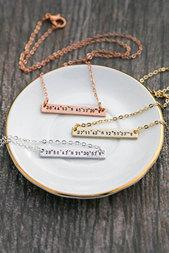 Personalized Silver Rose Gold Coordinates Necklace - DII QQQ - Custom Handstamped Handmade Location Bar Jewelry - 35mm x - Pink Locations Spot