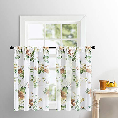 Tier Leaf - MRTREES Flower Leaf Printed Tier Curtains Kitchen Bathroom Cotton Blend Tiers 24 inchesWindow Treatment Brown Floral Print Sheer Drapes Cafe Curtains Rod Pocket Set 2 Panels
