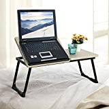 """Homycasa Foldable Laptop Portable Desk Bed Folding Computer Table with Anti-Slip Bar Suits for Ipad 14-17"""" Notebook Beech Black"""