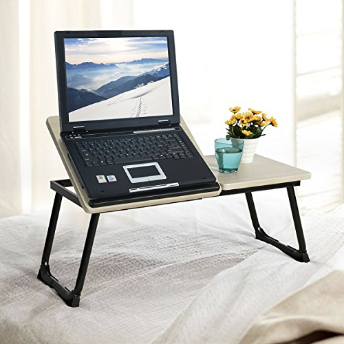 WarmCentre Foldable Laptop Computer Stand,Breakfast Tray Bed Table with Adjustable MDF Metal Stand,Black,65x30x27.5CM