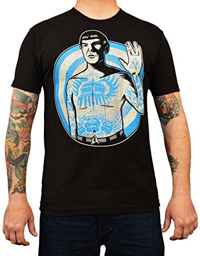 Men's Live Long by Adi Star Trek Spock Vulcan Salute Tattoo Art T-Shirt Small Black