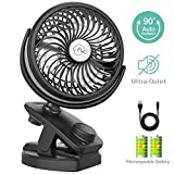 Battery Operated Stroller Fan with Clip and Rechargeable 4400mA Battery USB Fan Auto Oscillating Desk Fan with Stepless Speed, Portable Mini Fan for Baby Stroller, Home, Outdoor, Camping