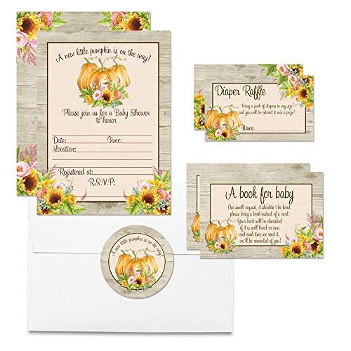 - Deluxe Fall Sunflower Floral Pumpkin Baby Shower Party Bundle, Includes 20 each of 5