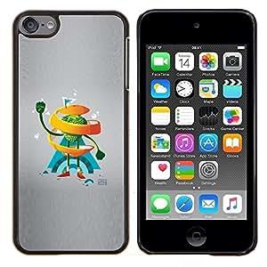 Naranja del remolino de Hombre- Metal de aluminio y de plástico duro Caja del teléfono - Negro - iPod Touch 6